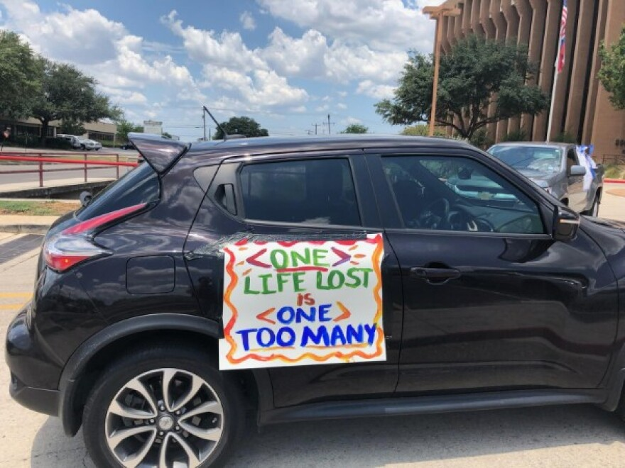 A car at the North East ISD caravan on Aug. 3, 2020. Teachers protested against plans requiring them to return to classrooms during the COVID-19 pandemic.