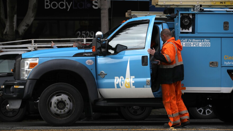 The Pacific Gas & Electric logo is displayed on a PG&E truck earlier this month in San Francisco, Calif. PG&E announced it is filing for bankruptcy protection as it faces an estimated $30 billion in legal claims for electrical equipment that might have been responsible for igniting destructive wildfires in California.