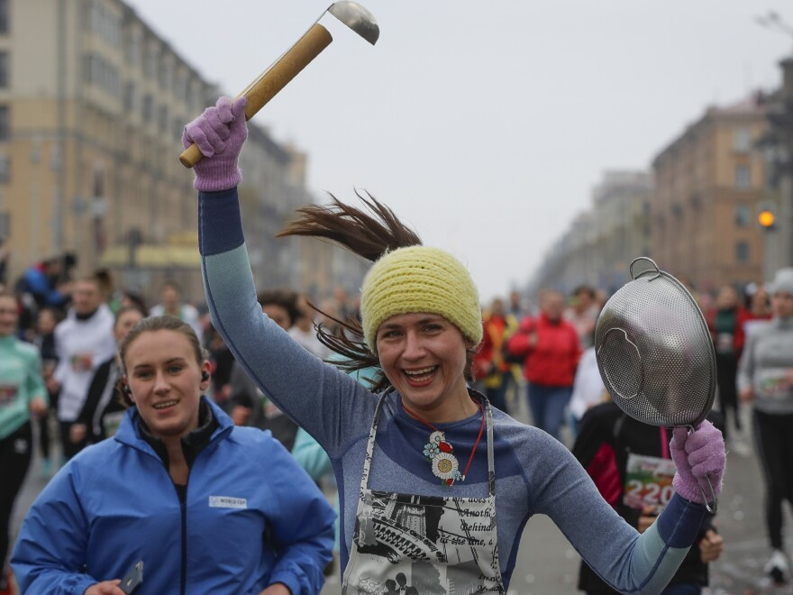"Participants take part in the women's ""Beauty Run"" in Minsk, Belarus, Sunday. Five thousand participants took part in the event in connection with International Women's Day, which is an official holiday in Belarus."