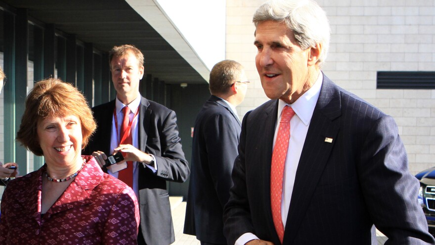 Secretary of State John Kerry urged European Union officials, including foreign policy chief Catherine Ashton, left, to support military action in Syria to punish the country for a chemical attack on its citizens.