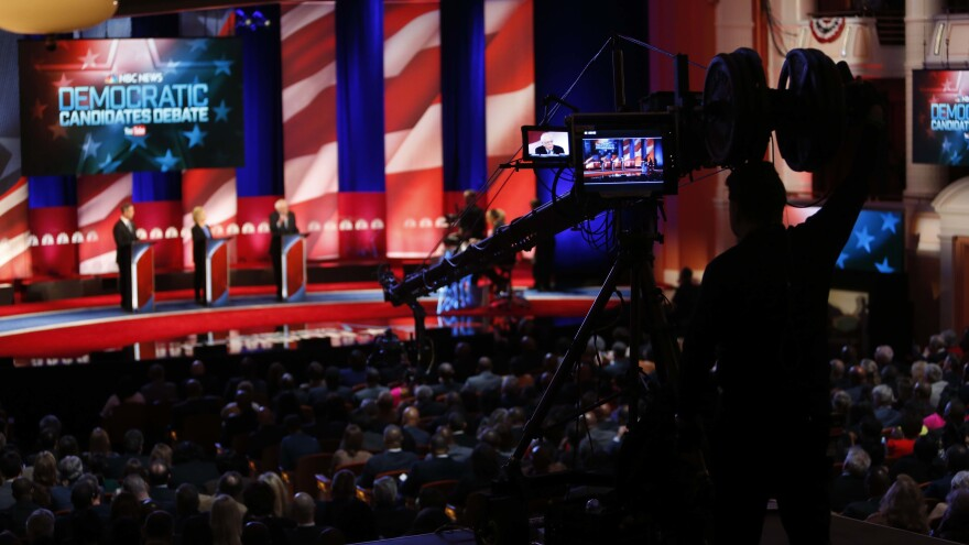 The debate stage before a 2016 Democratic primary debate hosted by NBC and YouTube in Charleston, S.C. Candidates will need higher poll numbers and more grassroots donors to participate in later debates this year.
