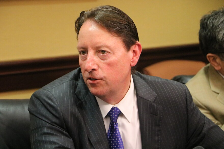 Senate President Bill Galvano talks with reporters at a media availability earlier this year.