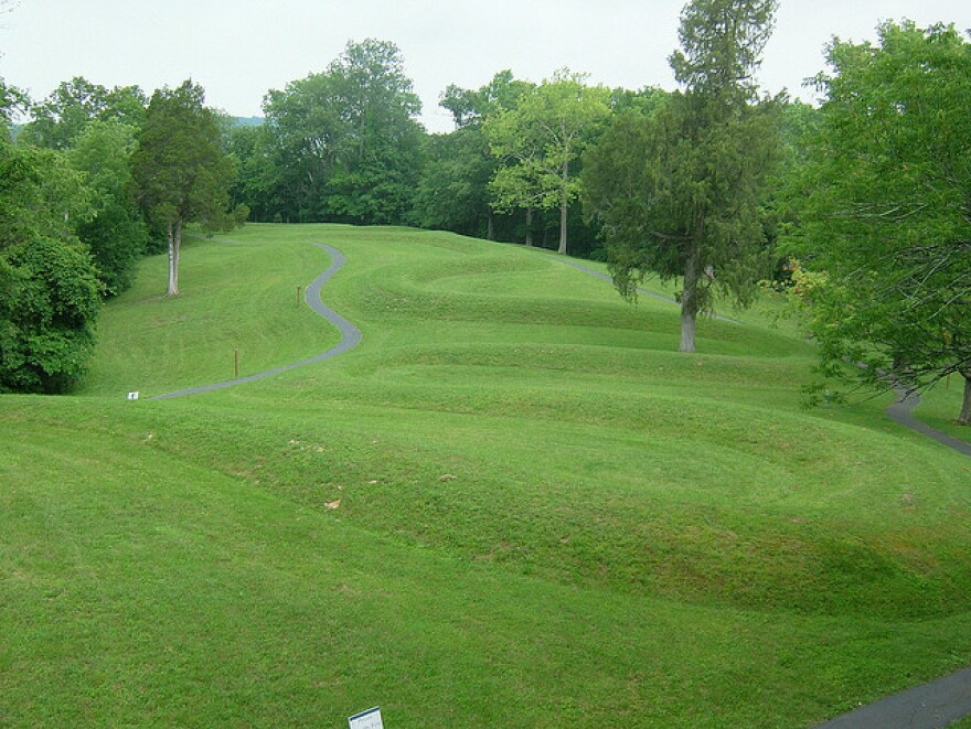 The low-lying Serpent Mound winds over a hilltop in souther Ohio, and you can't quite see the head from the tail.
