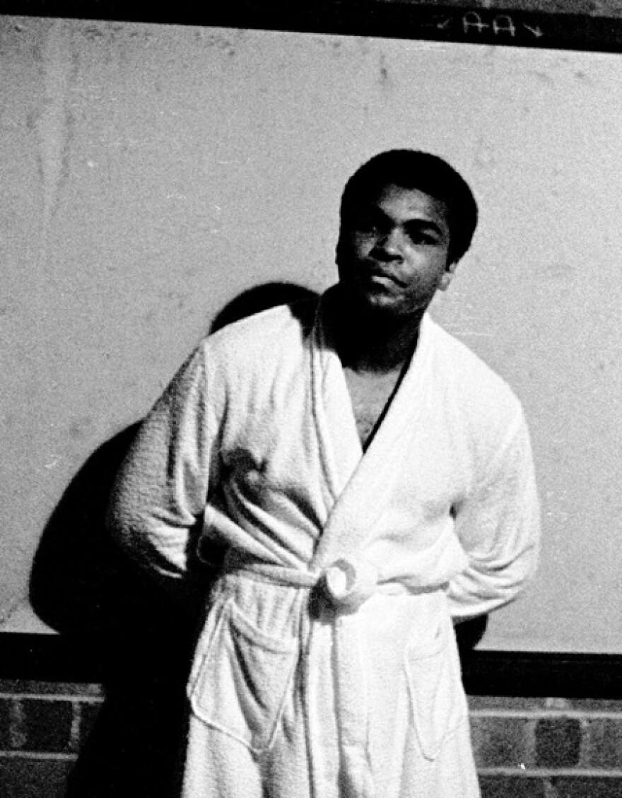 Muhammed Ali in the locker room beneath Welcome Stadium, June 25, 1971