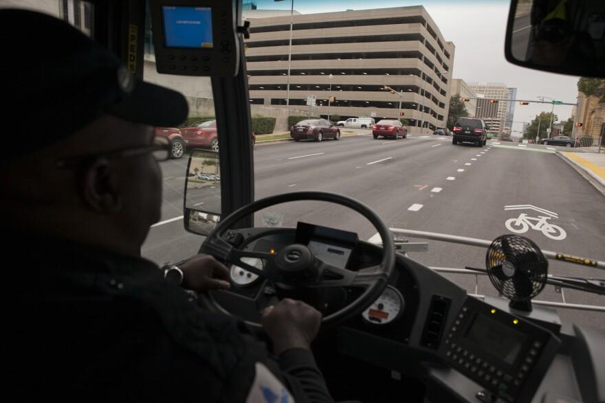 A Capital Metro bus in a dedicated bus lane in Austin.