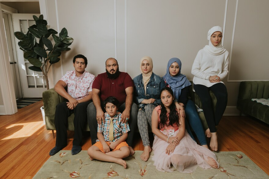 Left to Right: Naji, Ibrahim, Ahmed, Adeebah, Rahaf, Ammal and Hala Aldabaan in their Connecticut home.
