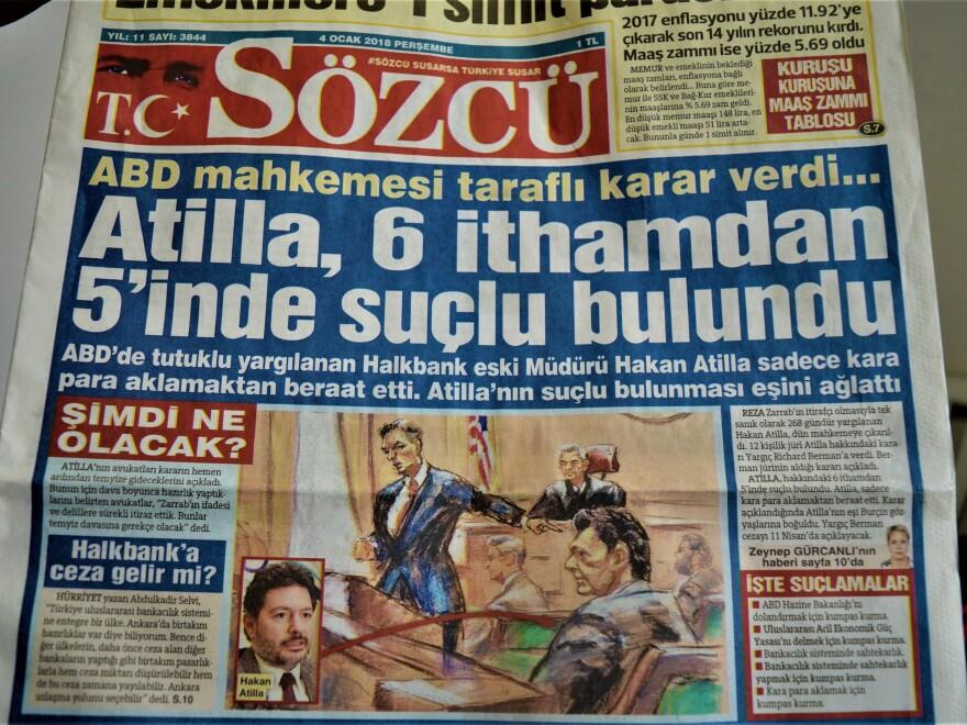<em>Sozcu</em>, a Turkish daily newspaper seen in Ankara, runs Mehmet Hakan Atilla's conviction as front-page news on Thursday.