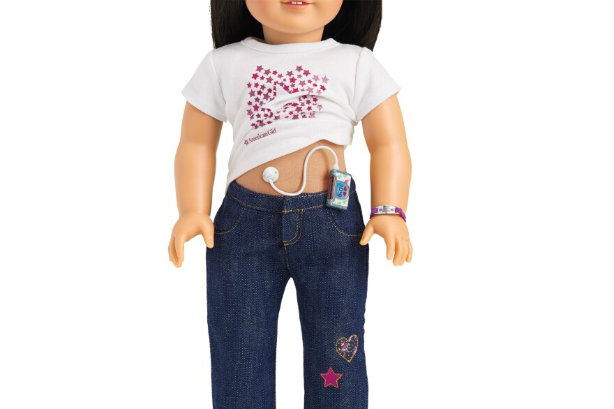 """The """"Diabetes Care Kit,"""" designed to fit American Girl dolls, comes with insulin pumps, pens, glucose tablets and a blood sugar monitor."""