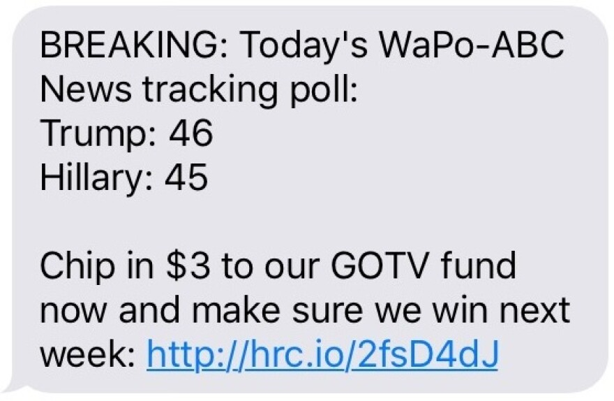A text from Hillary Clinton's campaign to supporters after a poll came out showing rival Donald leading.