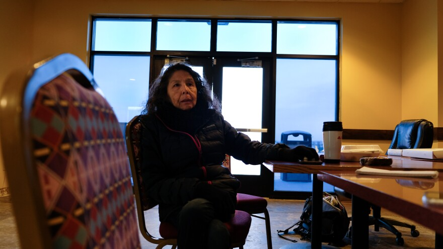 Francine Amyotte waits for volunteer searchers to come in at a makeshift command center based in the old Crow casino Apsaalooke Nights on Jan. 17, 2020.