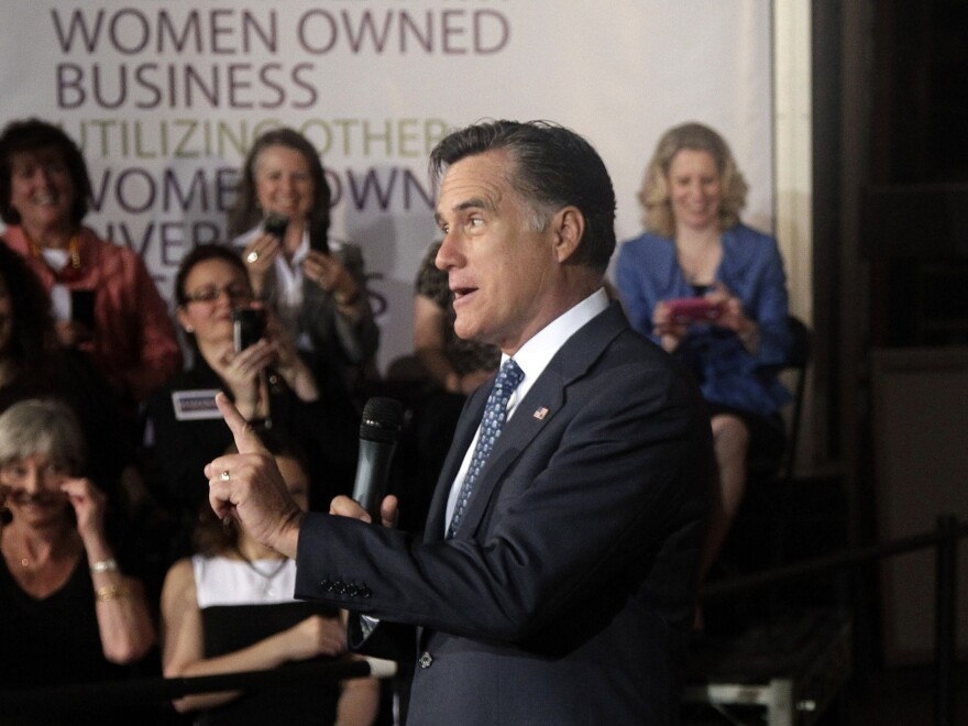 Mitt Romney speaks to a group that included female business owners in Chantilly, Va., on May 2.