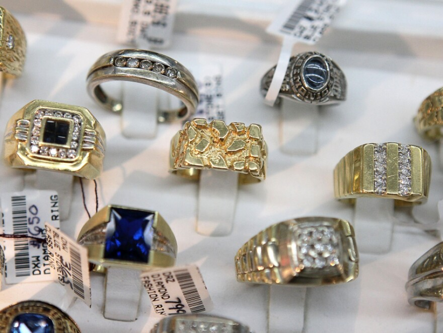Gold rings and heirloom jewelry like these pieces displayed in a San Francisco store are fetching  record high prices this year.