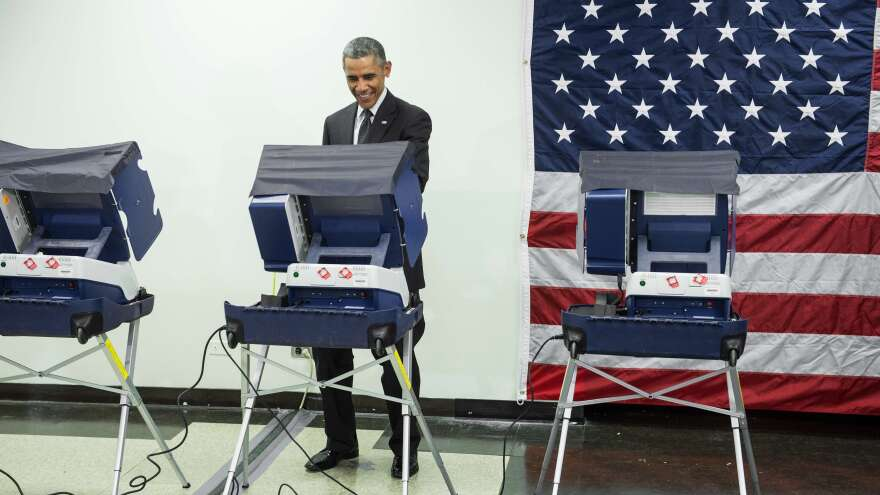 President Obama casts an early ballot for the midterm elections at the Dr. Martin Luther King Community Service Center in Chicago on Monday.