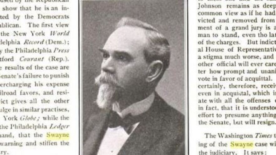 In the Senate on Tuesday, Chief Justice John Roberts cited the 1905 impeachment trial of Judge Charles Swayne; this photo of Swayne appeared in a March 1905 issue of <em>The Literary Digest</em>.