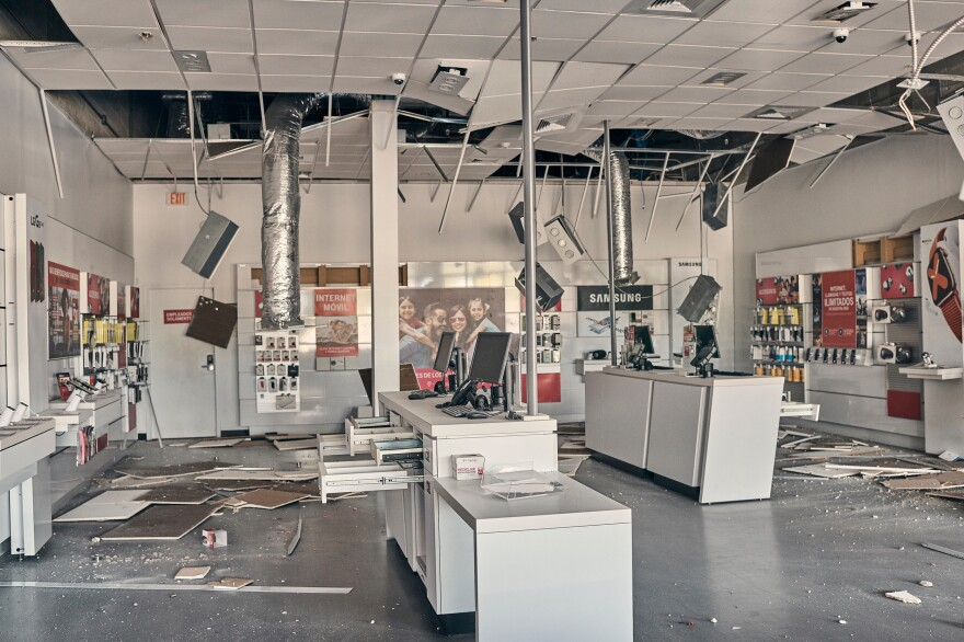 Business were damaged in a shopping center in Yauco, Puerto Rico, among the communities struck by a 6.4 magnitude earthquake early Tuesday.