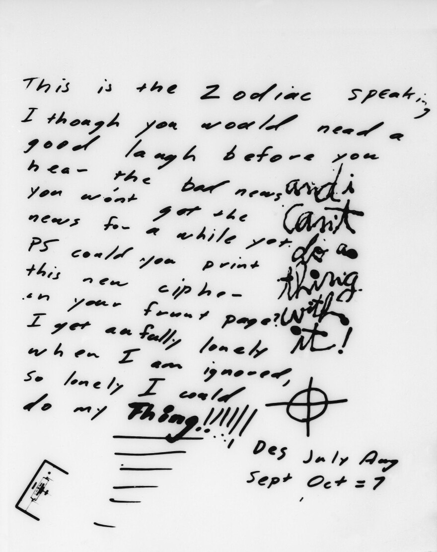 A 1969 message from the Zodiac Killer includes a cryptogram in San Francisco on Nov. 11, 1969. Authorities hope to use DNA databases in a similar manner that police used in the Golden State Killer case to identify the suspect.