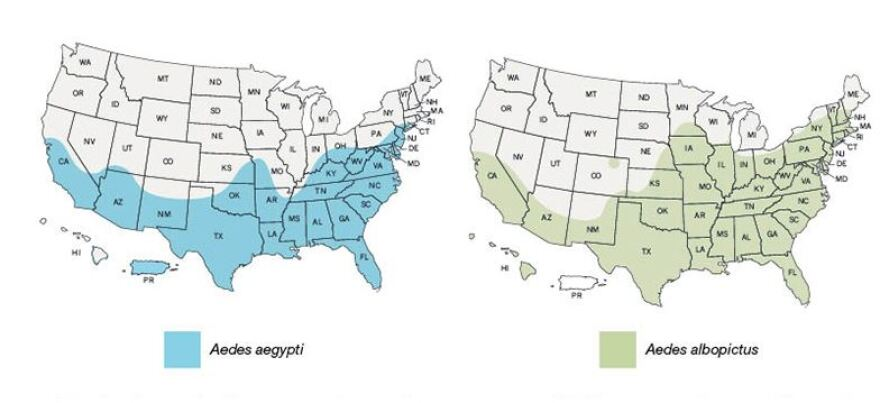 Maps from the Centers for Disease Control and Prevention show the agency's best estimate for the potential range of two mosquito species; the type mapped on the left is more likely to spread Zika than the one on the right. Maps are not meant to represent