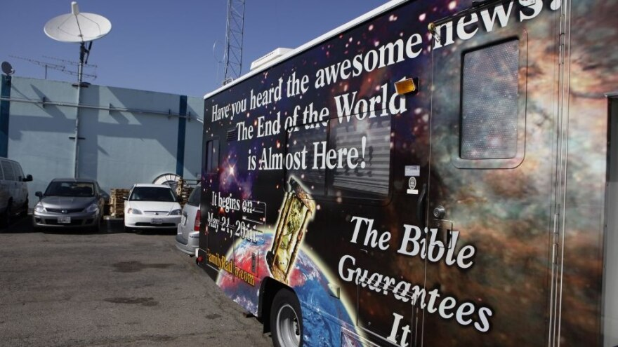 <p>A sign on an RV announces the end of the world, outside Harold Camping's ministry in Oakland, Calif., Monday, May 23, 2011. Ahead of that day, many of Camping's followers had quit their jobs or donated money to pay for more than 5,000 billboards and 20 RVs plastered with the Judgment Day message.</p>
