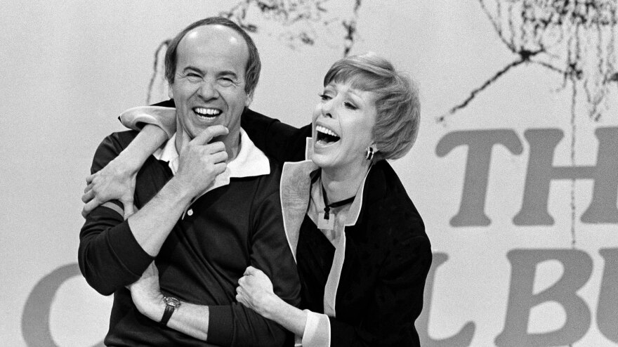 """Carol Burnett shares a laugh with Tim Conway during taping of her final show , March 19, 1978 after 11 years of music and comedy on CBS. """"I think it's classier to leave before you're asked to leave, """" Miss Burnett said during a break in Friday's taping. """"I'm proud of our show. I'm no dummy. It's time to put it to bed. """""""