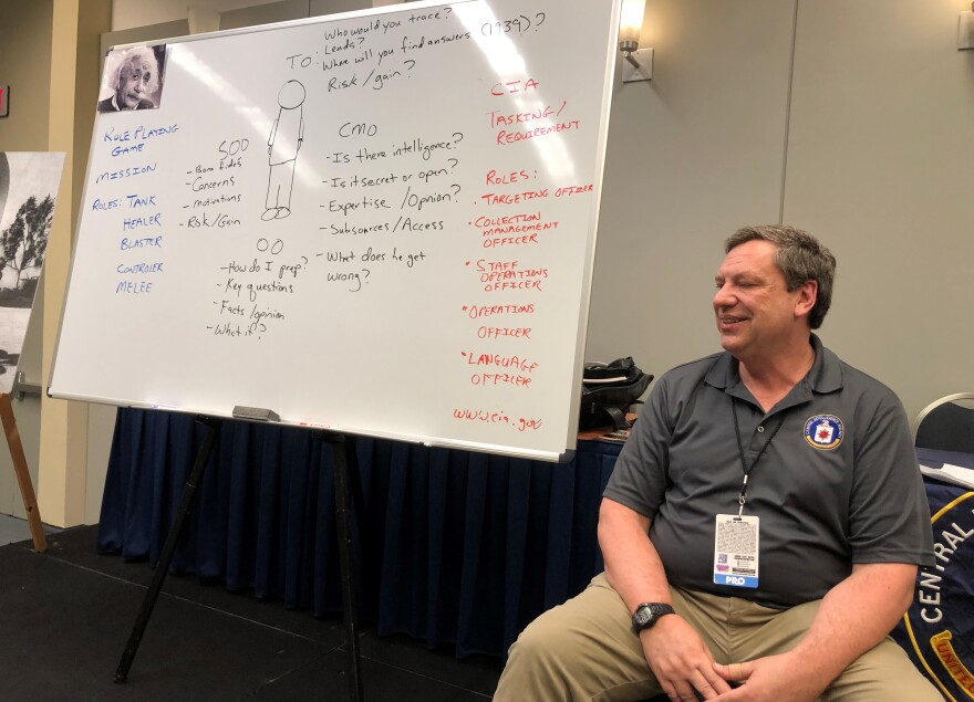 CIA staff historian Randy Burkett leads a discussion with members of the public at a recent event in Washington. Participants were asked how they might try to recruit Albert Einstein to spy for the U.S. from Nazi Germany without getting him arrested or killed.
