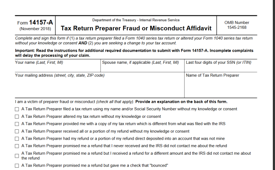 Image of IRS tax fraud reporting form