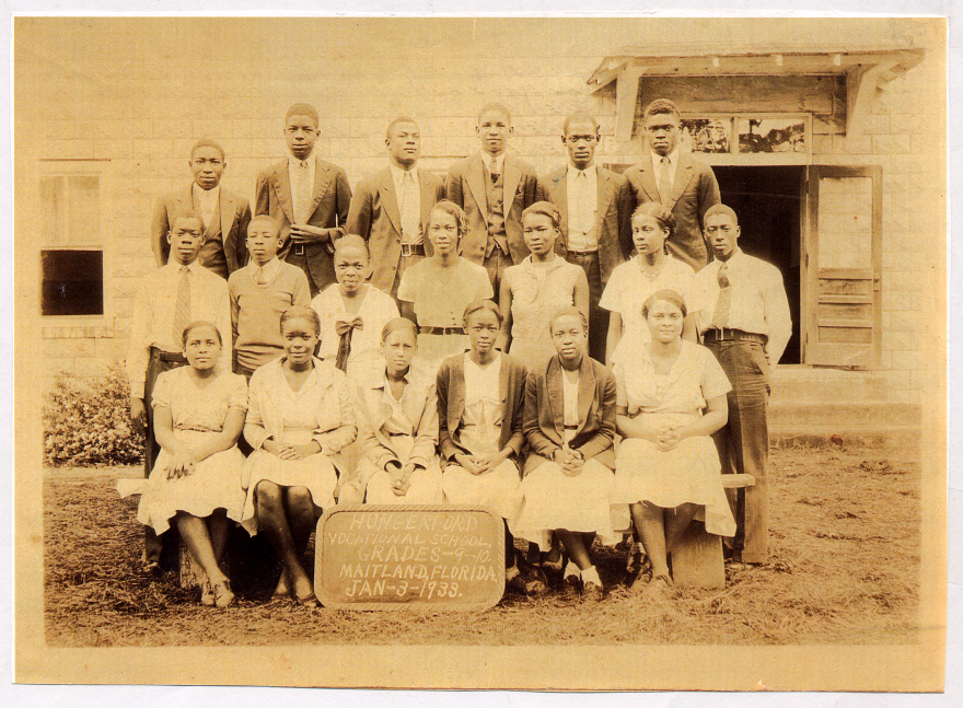Ella Augusta Johnson (first row, third from left), posing for her class photo at Robert Hungerford Vocational School in Eatonville, Fla., in 1933.