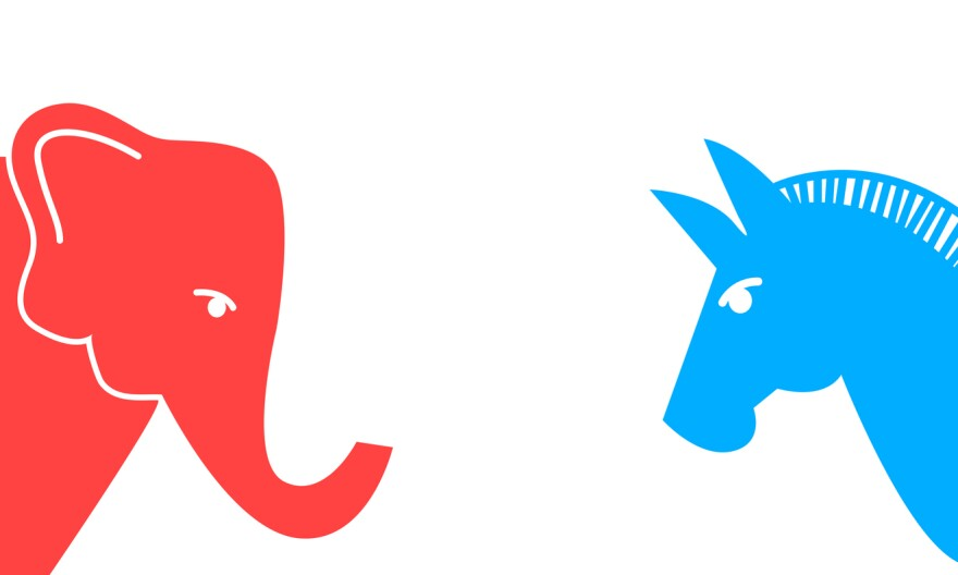 Vector illustration of a blue donkey and a red elephant