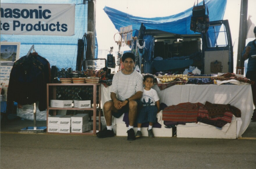 Alan and his father Alejandro at their booth in the mid-1990s.
