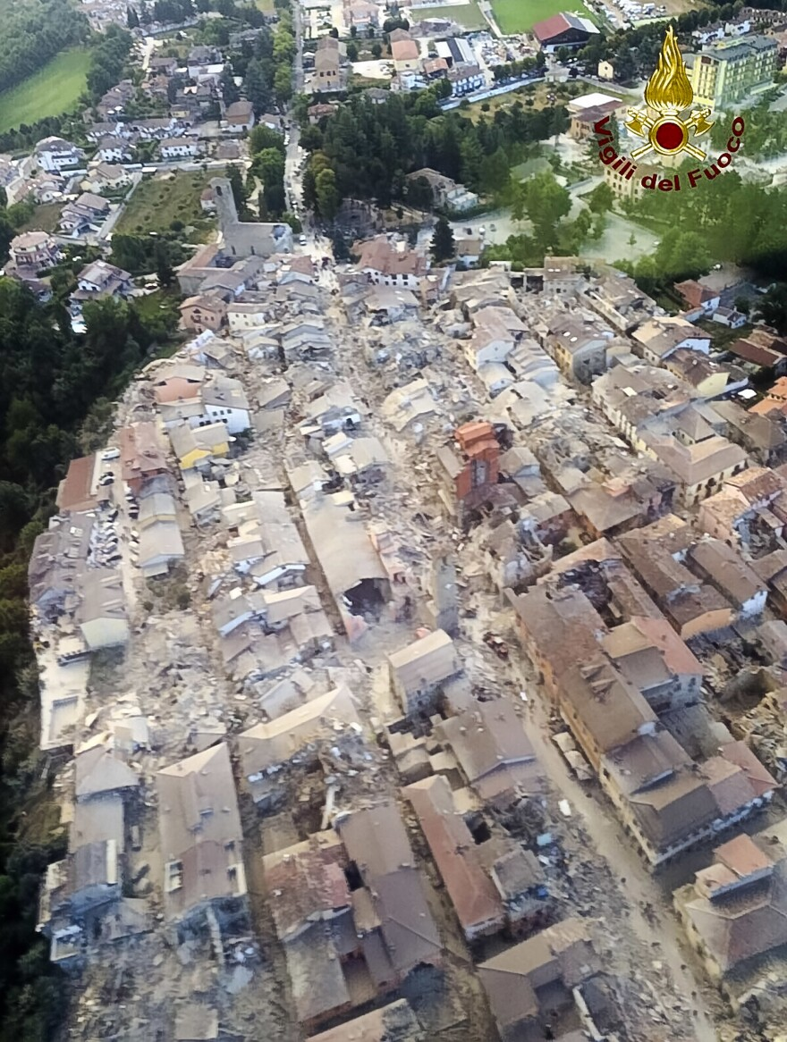 This aerial view shows the damage in the town of Amatrice, central Italy, on Wednesday, following a powerful earthquake.