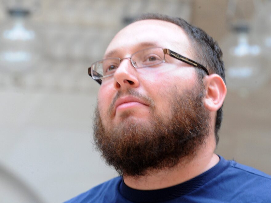Freelance journalist Steven Sotloff is seen during a work trip inside Al-Fateh Mosque in Manama, Bahrain, on Oct. 26, 2010. The Islamic State group released a video this week that showed a militant beheading the American journalist.