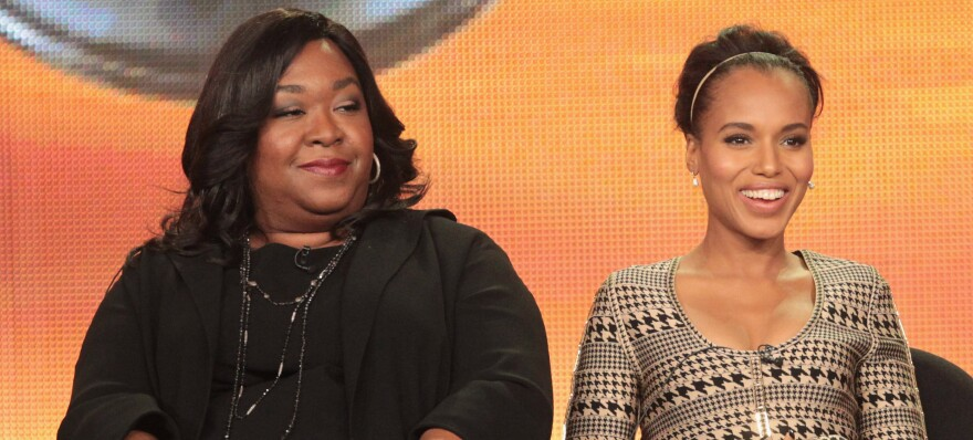 Shonda Rhimes (left) with <em>Scandal</em> star Kerry Washington at a 2012 press conference.