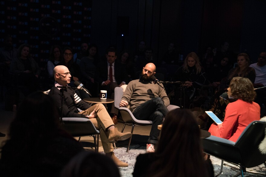 Matt Bai (left) and Jay Carson spoke with NPR's Audie Cornish in front of a live audience at NPR headquarters in Washington, D.C.