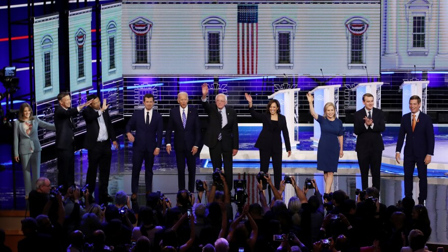 Democratic presidential candidates take the stage at the opening of Night 2 of the primary debate in Miami on Thursday.