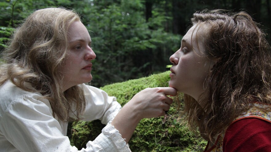 "Shirley Jackson (Elisabeth Moss) and her long-term houseguest Rose (Odessa Young) form an unusual bond in <em>Shirley. </em>The film mixes fact and fiction to explore the life of the American writer best known for her short story ""The Lottery."""