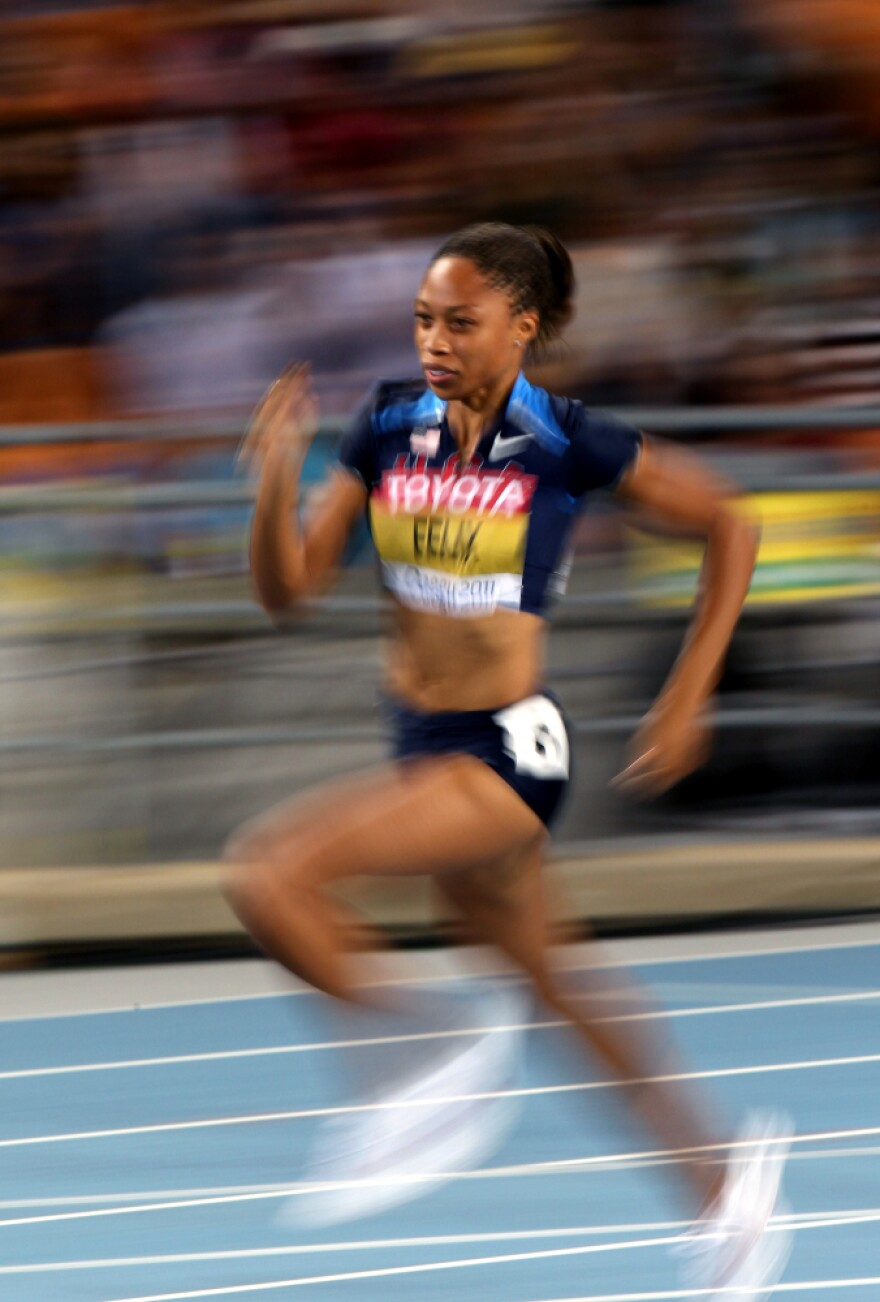 Allyson Felix runs in a 200 meter race at the 2011 IAAF World Championships. Felix, who has twice won silver in the race at the Olympics, has not yet announced her event schedule for London this summer.