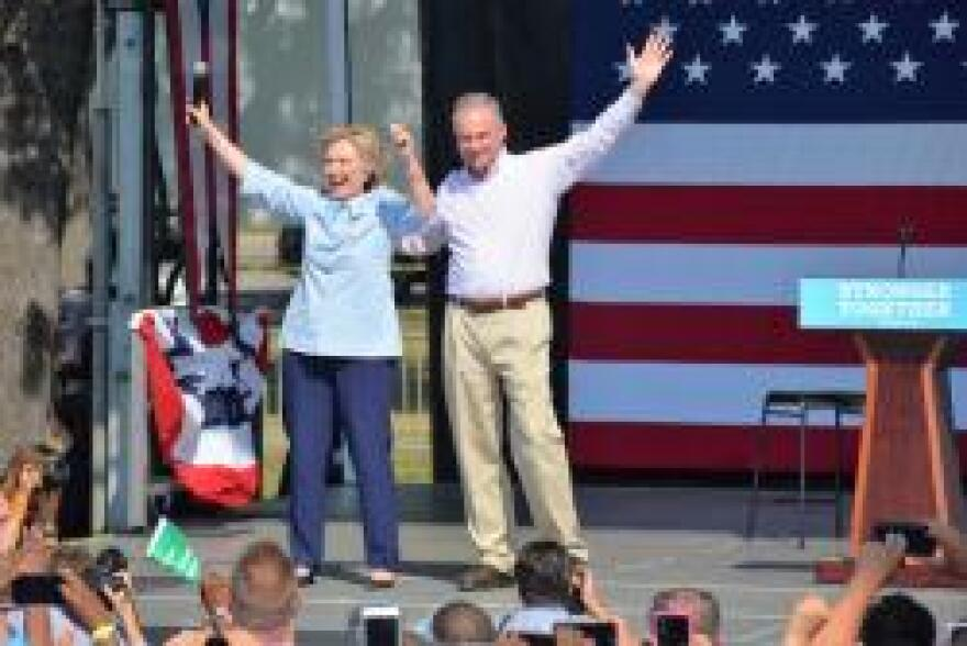 photo of Hillary Clinton and Tim Kaine