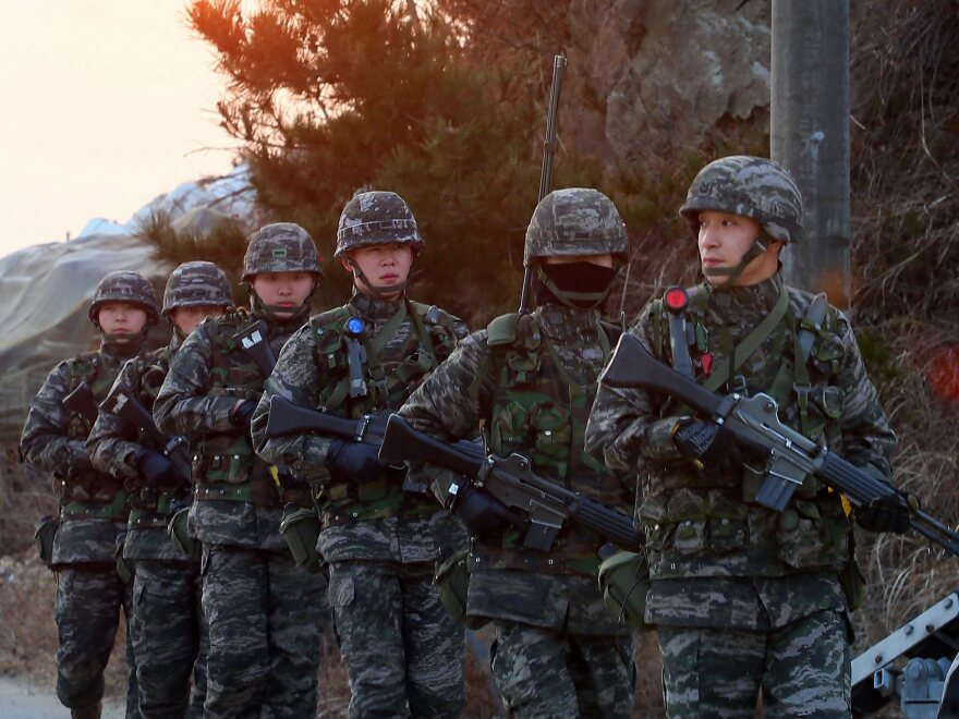 South Korean soldiers on Yeonpyeong last month. North Korea conducted live-fire artillery drills near the island on Tuesday.