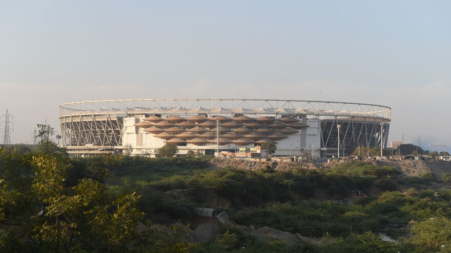 The newly renovated Sardar Patel Stadium in Ahmedabad, billed as the largest cricket stadium in the world, is the centerpiece of President Trump's two-day visit to India, where the president and his wife, Melania, are getting feted by Prime Minister Narendra Modi in his home state of Gujarat.