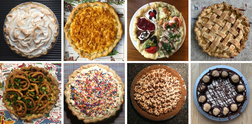 Stacey Mei Yan Fong has been baking her way across the United States: Clockwise from upper left, a baked Alaska pie, Utah's funeral potato pie, Nevada's all you can eat buffet pie, South Carolina's peach pie, Ohio's buckeye pie, Iowa's s'mores pie, Missouri's frozen custard pie, and Minnesota's corn dog casserole pie.