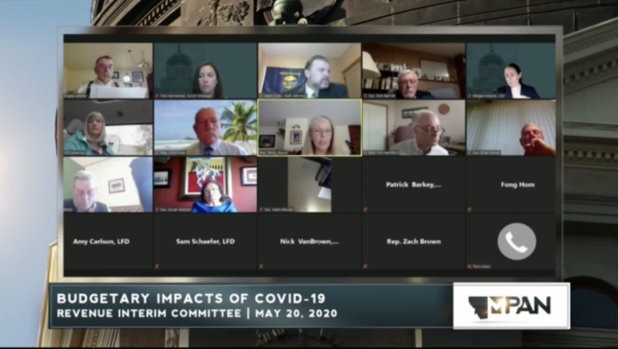 Montana Legislators meeting during a live-web conferenece to discuss state finances on May 20, 2020