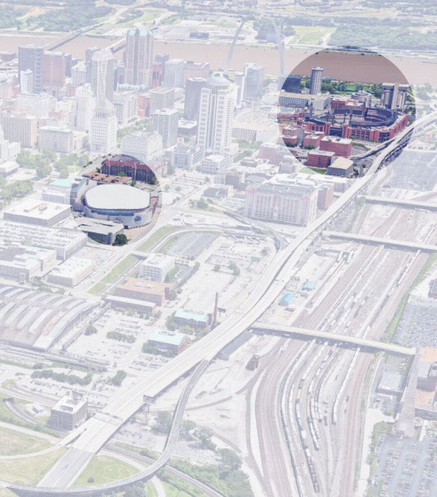 A visualization of distances between St. Louis stadiums