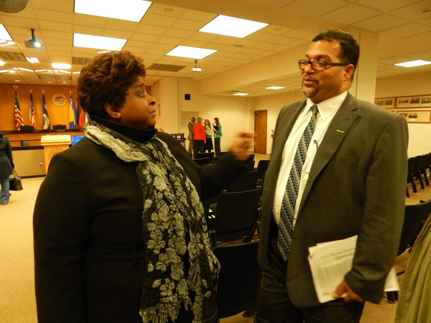 Andrea Hatcher with NOP spoke to Dayton City Commissioner Chris Shaw after the meeting.