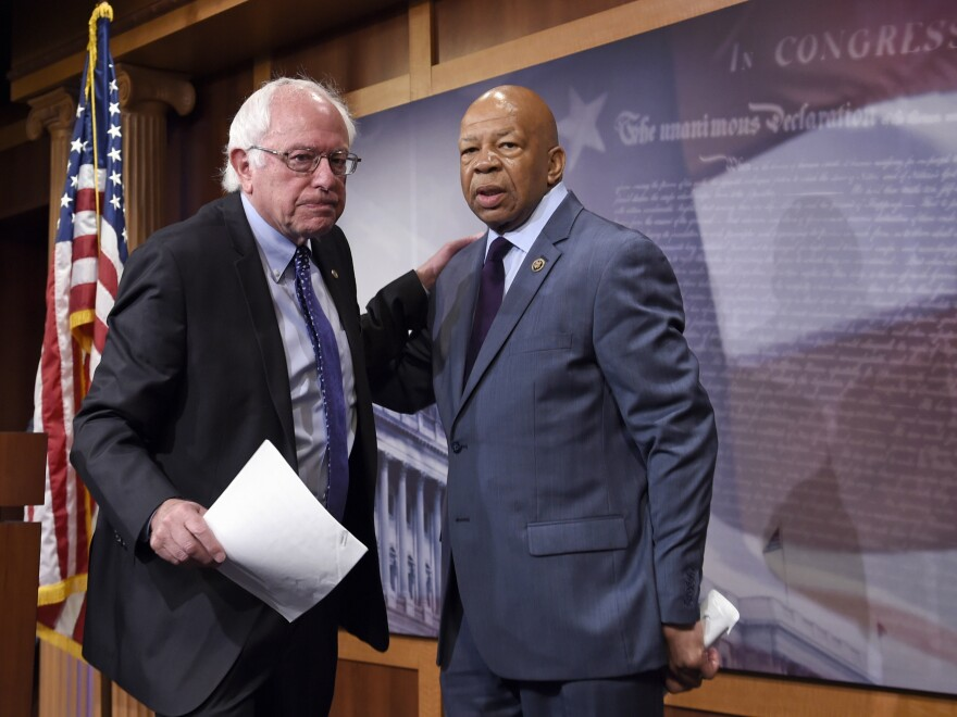 Sen. Bernie Sanders, I-Vt., left, and Rep. Elijah Cummings, D-Md., are pictured in Washington last year. Sanders and Cummings are demanding information from a drug company that repeatedly has raised prices on a leukemia drug.