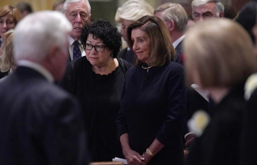 Supreme Court Justice Sonia Sotomayor, left and House Speaker Nancy Pelosi arrive for the funeral mass.