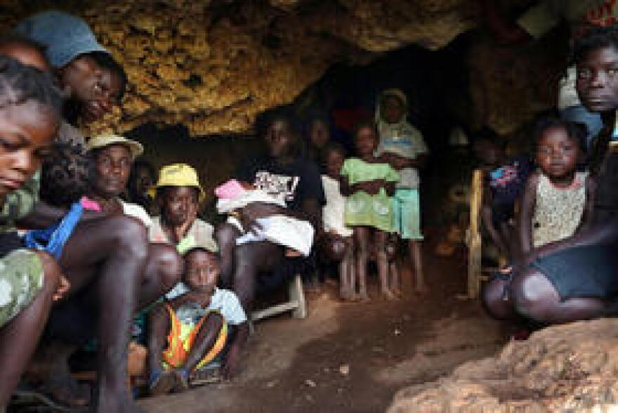 Homeless Haitians, displaced victims of Hurricane Matthew, found living in a cave in southwest Haiti in March.