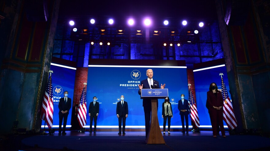President-elect Joe Biden introduces key foreign policy and national security nominees and appointments at the Queen Theatre in Wilmington, Del., on Tuesday.