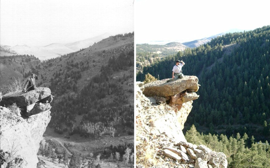 This photo pairing shows Colorado's Geer Canyon in 1911 and 2006. Decades of efforts to suppress fires have helped increased the density and homogeneity of ponderosa pine tree forests.