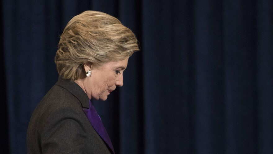 Hillary Clinton spoke at a private event Thursday night. Pictured here, the Democratic presidential candidate walks off the stage after speaking in New York on Nov. 9.