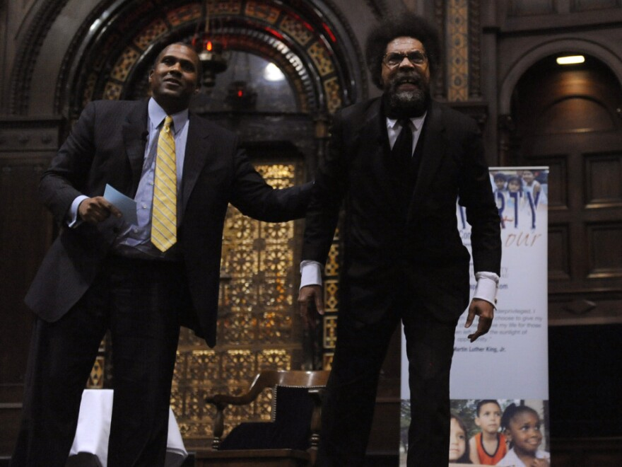 Princeton professor Cornel West (right) and talk show host Tavis Smiley on Oct. 9.