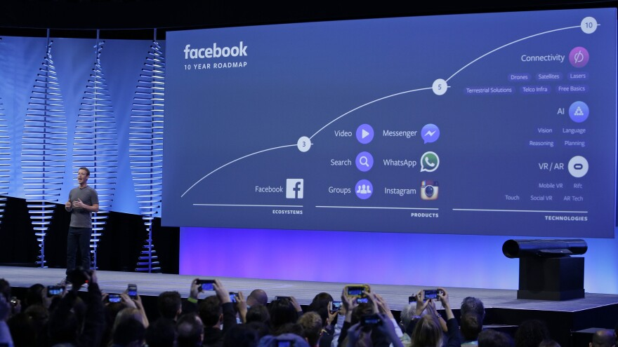 Facebook CEO Mark Zuckerberg talks about the company's 10-year road map during his keynote address Tuesday at the F8 Facebook Developer Conference in San Francisco.